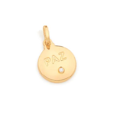 542248 pingente medalha escrito paz com 1 zirconia branca marca rommanel loja revendedora brilho folheados
