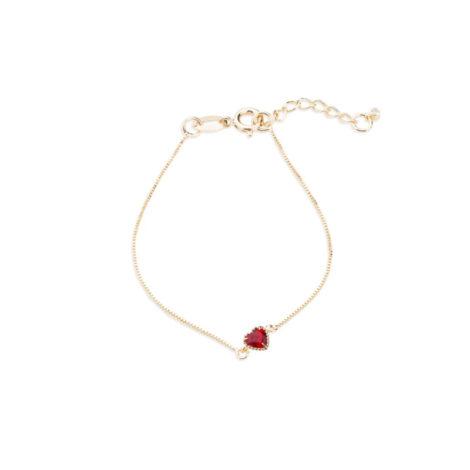 1700415 pulseira delicada com pingente coracao vermelha marca sabrina joias loja brilho folheados 1