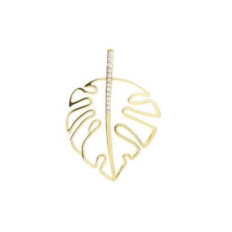 1800717 pingente folha com zirconias na parte superior joia folheada a ouro marca sabrina joias loja revendedora brilho folheados