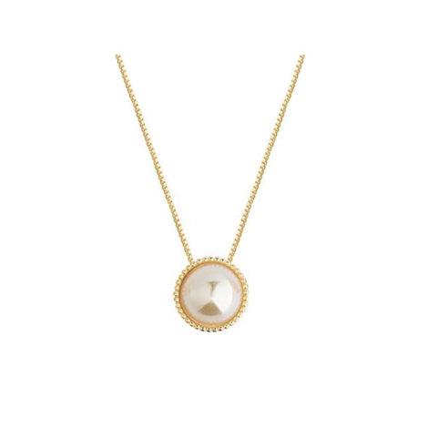 1900497 colar corrente veneziana delicada com pingente meia perola com borda em bolinhas metal marca sabrina joias loja brilho folheados