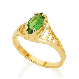 511181 anel de formatura zirconia navete facetada verde com laterais do anel vazada joia rommanel loja revendedora brilho folheados