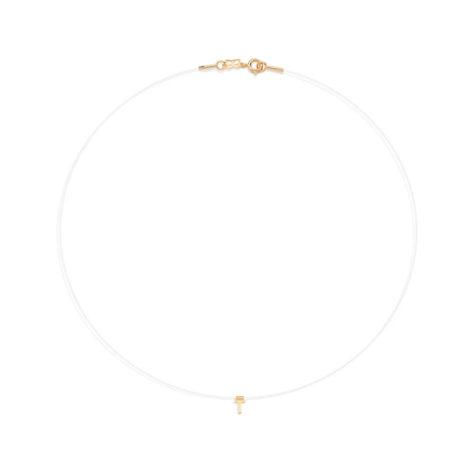 532041 colar nylon com pingente dourado letra T joia rommanel loja revendedora brilho folheados