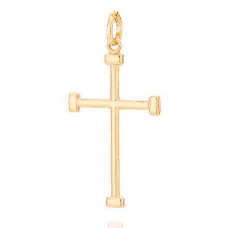 542208 pingente no formato cruz crucifixo com pontas retangulares marca rommanel loja revendedora brilho folheados 1