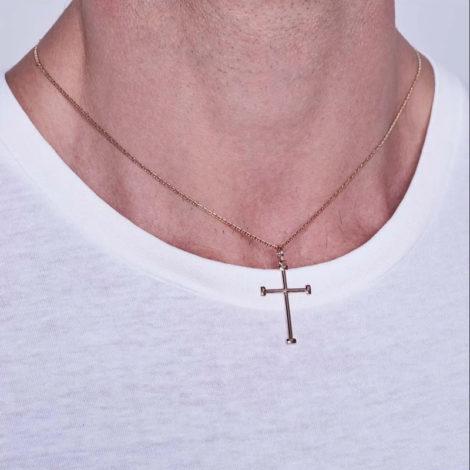 542208 pingente no formato cruz crucifixo com pontas retangulares marca rommanel loja revendedora brilho folheados