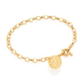 550853 pulseira feminina formada por elo portugues com berloque globo vazado joia rommanel loja brilho folheados 2