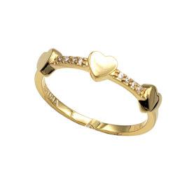 AB1816 anel com 3 coracoes pequenos ligados por aro cravejado com zirconias brilhantes marca bruna semijoias loja brilho folheados 1