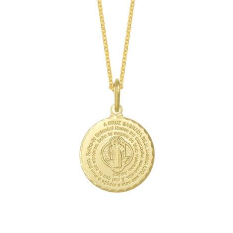 CPOSBCXV0120 pingente oracao sao bento com imagem no centro joia folheada ouro 18k loja brilho folheados 5