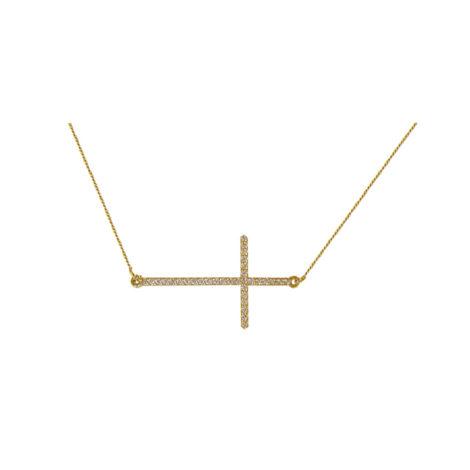 GB0259 gargantilha delicada pingente cruz na horizontal cravejada com micro zirconias marca bruna semijoias loja brilho folheados 1