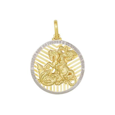 MSJG0120 pingente medalha grande imagem sao jorge detalhes vazados e mensagem loja brilho folheados 2