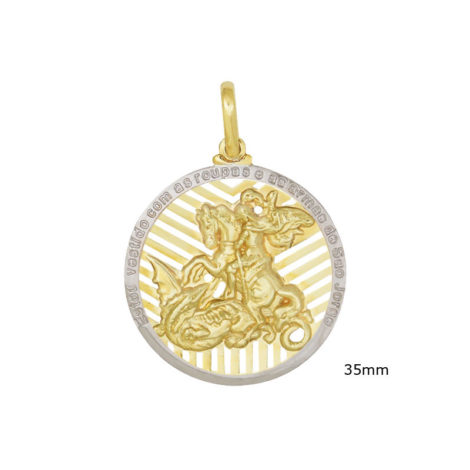 MSJG0120 pingente medalha grande imagem sao jorge detalhes vazados e mensagem loja brilho folheados 3