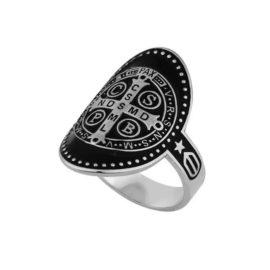 R1911043 anel cruz sao bento com resina preta folheado a rodio marca sabrina joias loja revendedora brilho folheados 1