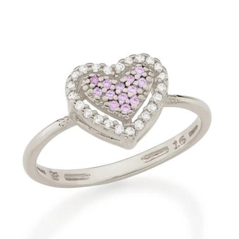 110862 anel prateado coracao solitario cravejado com zirconias coloridas marca rommanel loja revendedora brilho folheados 2