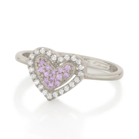 110862 anel prateado coracao solitario cravejado com zirconias coloridas marca rommanel loja revendedora brilho folheados 3