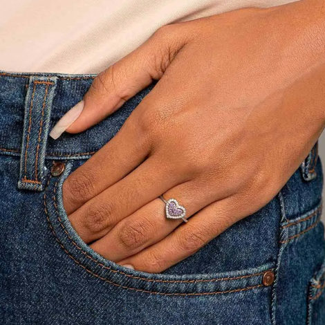 110862 anel prateado coracao solitario cravejado com zirconias coloridas marca rommanel loja revendedora brilho folheados foto modelo 1