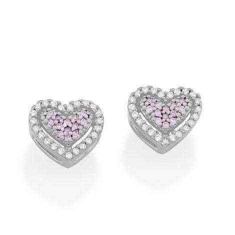 121797 brinco prateado formato coracao cravjeado com zirconias rosa e brancas marca rommanel loja revendedora brilho folheados 4