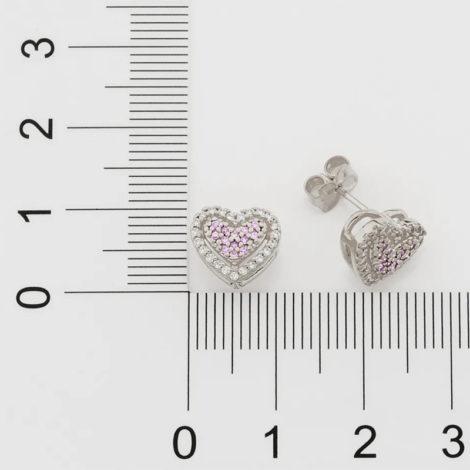 121797 brinco prateado formato coracao cravjeado com zirconias rosa e brancas marca rommanel loja revendedora brilho folheados 6