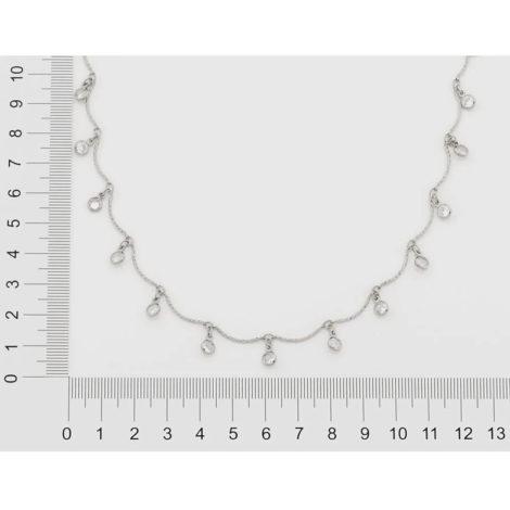 130461 gargantilha prateada formada por fio curvados com pingentes redondos pendurados compostos por zirconias marca rommanel loja brilho folheados 1
