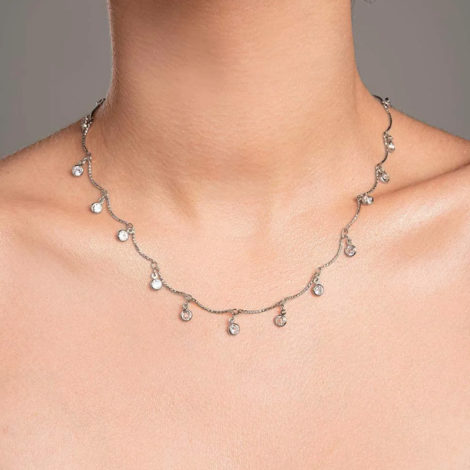 130461 gargantilha prateada formada por fio curvados com pingentes redondos pendurados compostos por zirconias marca rommanel loja brilho folheados modelo