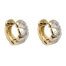 1652300 brinco argola pequena bipartida com losangos e zirconia joia folheada ouro 18k marca sabrina loja brilho folheados