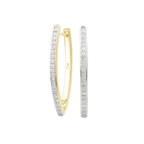 1689451 brinco no formato da letra V cravejado com zirconias marca sabrina joias loja revendedora brilho folheados