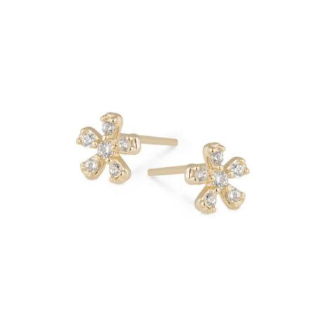 1689542 brinco flor 2 furo com zirconias brancas marca sabrina joias loja revendedora brilho folheados