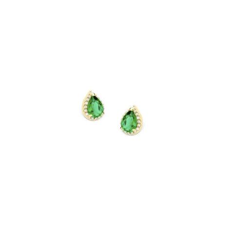 1690255 brinco delicado gota de zirconia verde com zirconias brancas brilhantes ao redor sabrina joias loja revendedora brilho folheados 1
