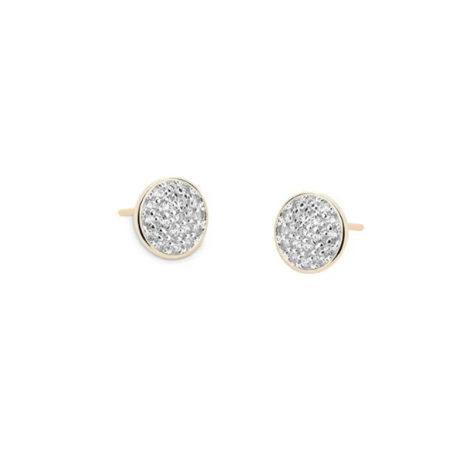 1690285 brinco brase redonda cravejado com micro zirconia brilhante ao redor da zirconia tem aplique de rodio prata marca sabrina joias loja brilho folheados
