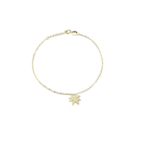1700514 Tornozeleira composta por pingente folha cravejada com zirconias marca sabrina joias loja revendedora brilho folheados 1