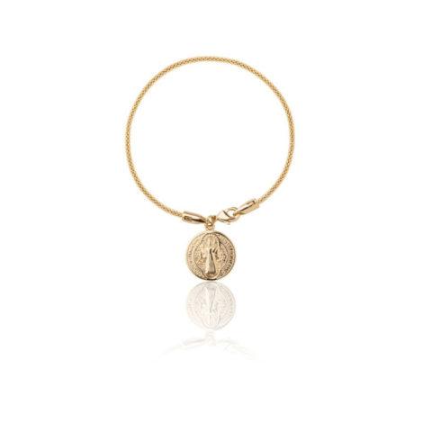 1700543 pulseira malha tubinho com medalha imagem e cruz sao bento marca sabrina joias loja brilho folheados 1