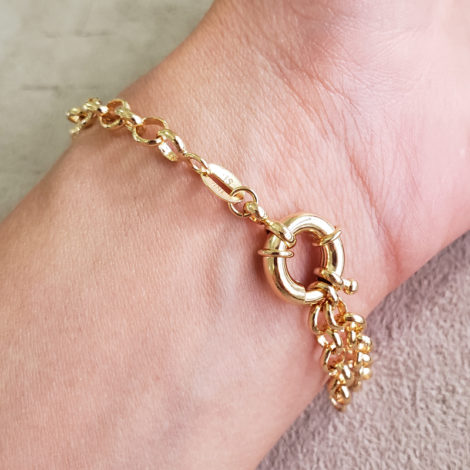 1700550 pulseira elo portugues medalha sao bento com zirconia detalhe vazado marca sabrina joias loja revendedora brilho folheados 5