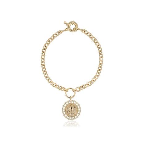 1700550 pulseira elos portugueses com medalha de sao bento folheado ouro marca sabrina loja brilho folheados