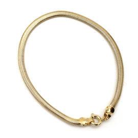 239e18 pulseira rabo de rato achatada e diamantada folheado ouro 18k marca sabrina joias loja brilho folheados