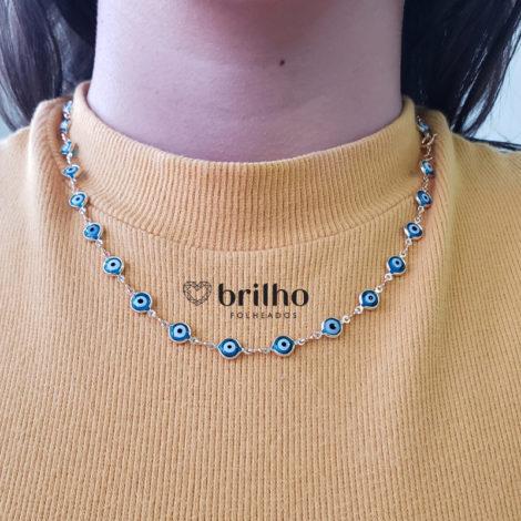 240E 50 colar olho grego azul claro marca sabrina joias loja revendedora brilho folheados foto modelo 1
