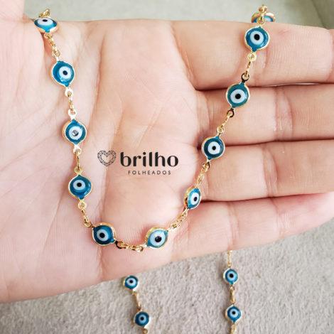 240E 50 colar olho grego azul claro marca sabrina joias loja revendedora brilho folheados foto modelo 2