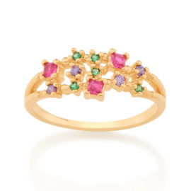 512845 anel composto por zirconias coloridas marca rommanel loja revendedora brilho folheados