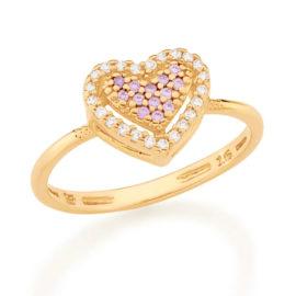512901 anel dourado coracao solitario cravejado com zirconias coloridas marca rommanel loja revendedora brilho folheados 2