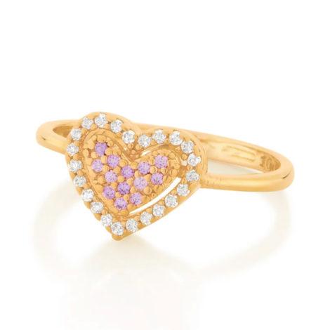 512901 anel dourado coracao solitario cravejado com zirconias coloridas marca rommanel loja revendedora brilho folheados 3