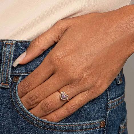 512901 anel dourado coracao solitario cravejado com zirconias coloridas marca rommanel loja revendedora brilho folheados foto modelo 1