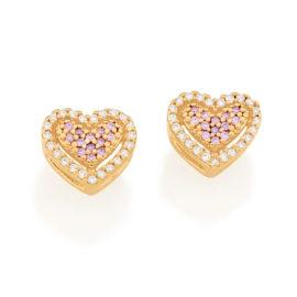 526510 brinco formato coracao cravjeado com zirconias rosa e brancas marca rommanel loja revendedora brilho folheados 3