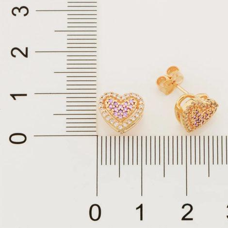 526510 brinco formato coracao cravjeado com zirconias rosa e brancas marca rommanel loja revendedora brilho folheados 5