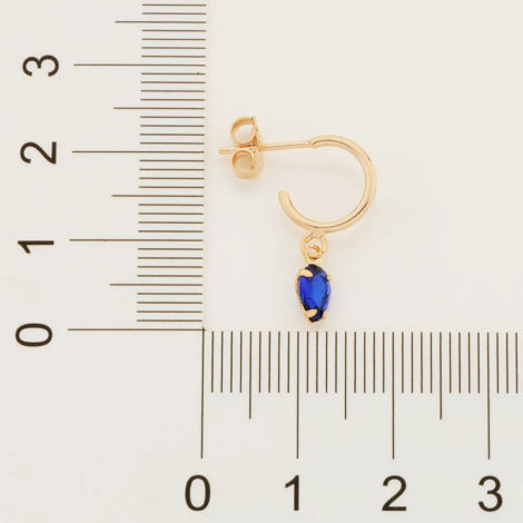 526516 brinco meia argola com zirconia gota azul marca rommanel loja revendedora brilho folheados 6