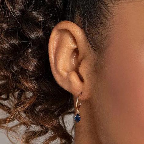 526516 brinco meia argola com zirconia gota azul marca rommanel loja revendedora brilho folheados foto modelo 1