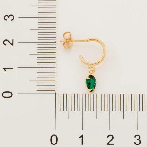 526516 brinco meia argola com zirconia gota verde marca rommanel loja revendedora brilho folheados 2