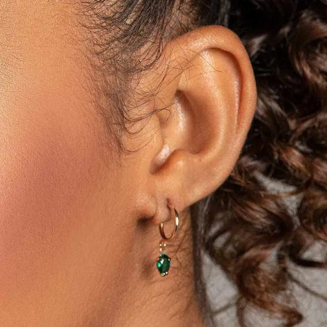 526516 brinco meia argola com zirconia gota verde marca rommanel loja revendedora brilho folheados foto modelo