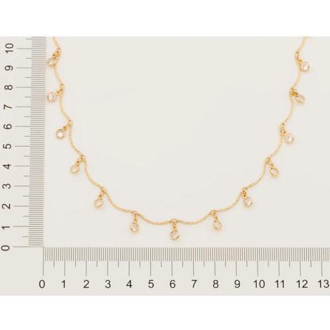 532053 gargantilha formada por fio curvados com pingentes redondos pendurados compostos por zircônias marca rommanel loja brilho folheados 1