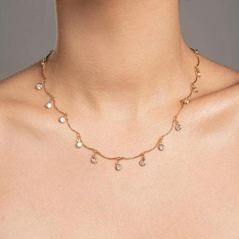 532053 gargantilha formada por fio curvados com pingentes redondos pendurados compostos por zircônias marca rommanel loja brilho folheados 2
