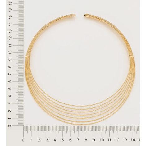 532057 gargantilha chocker fomada por 7 fios trabalhados e diamantados marca rommanel loja revendedora brilho folheados 1