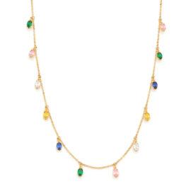 532082 gargantilha formada por fio elos intercalados com pingentes ovais coloridos marca rommanel loja revendedora brilho folheados