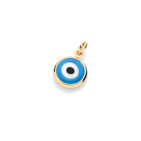 541649 pingente formato olho grego azul claro folheado a ouro 18k joia rommanel loja revendedora brilho folheados 1