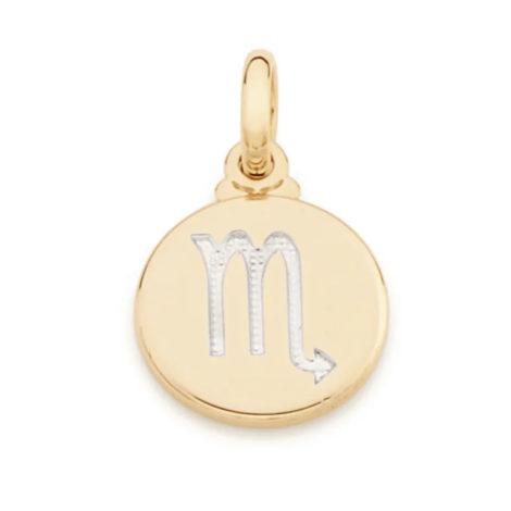 542198 pingente redondo pequeno com simbolo escorpiao marca rommanel loja revendedora brilho folheados